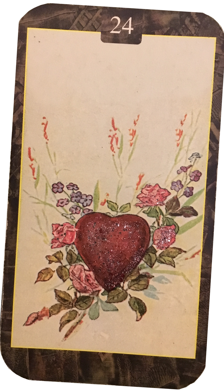 The Heart Card in the Lenormand Oracle, which signifies love, passion, romance, caring for others and giving.