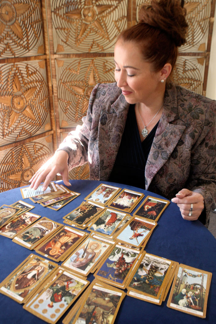 Karen with Tarot spread