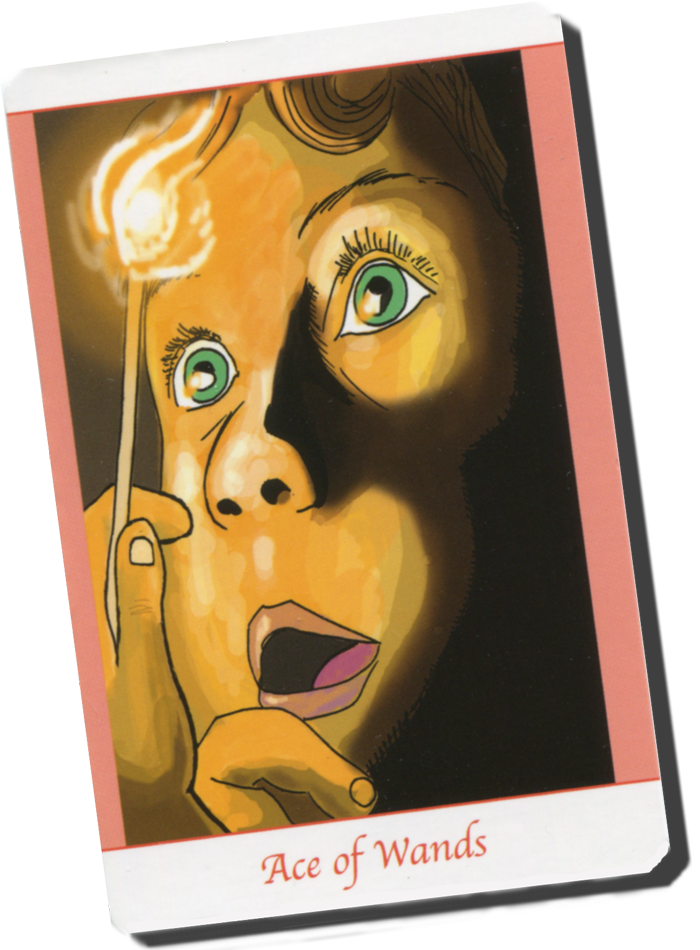 The Ace of Wands shows a child who stares at a struck match from Simply Deep Tarot