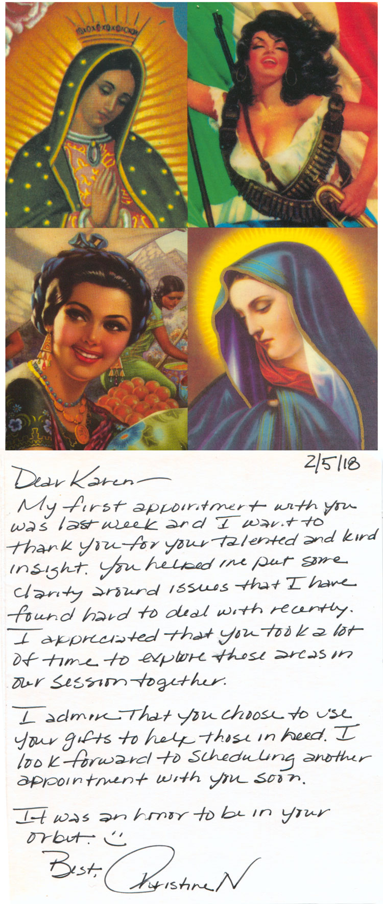 A personal card sent to Karen from Christine N. Text is in the web page.