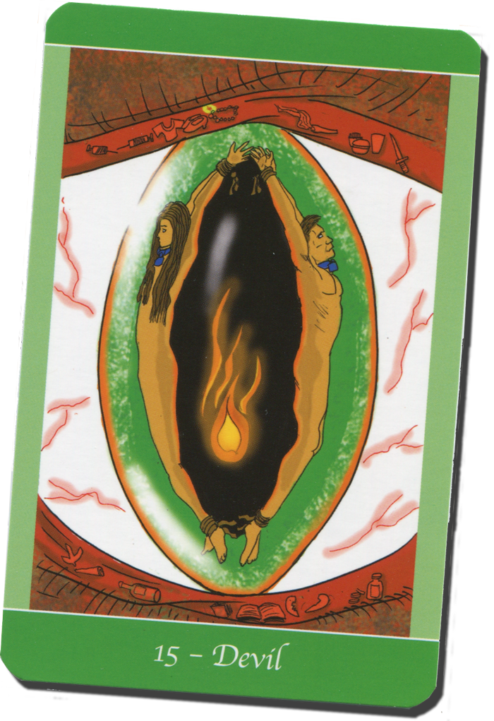 The Devil card with male and female figures bound together from Simply Deep Tarot
