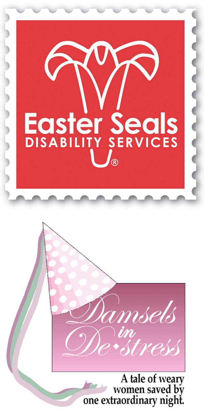 Easter Seals Disability Services logo and Damsels in De-Stress logos