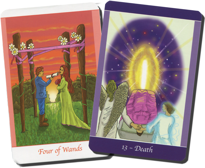 Four of Wands and the Death Card from Simply Deep Tarot