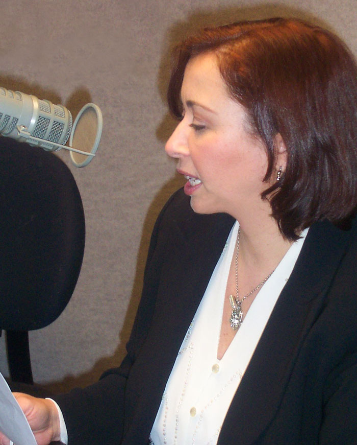 Karen Hollis on the radio