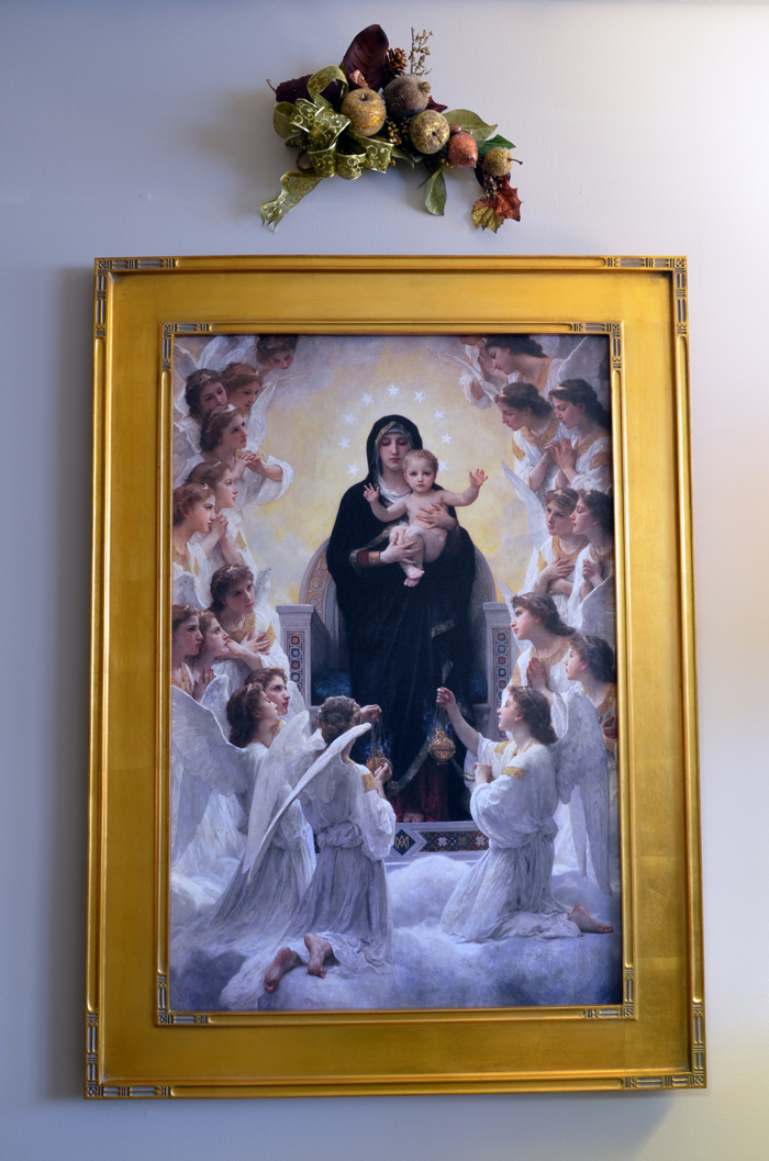 Painting of The Madonna and Child from inside Karen's office. Karen sees her talent as a gift from God to help her serve humanity