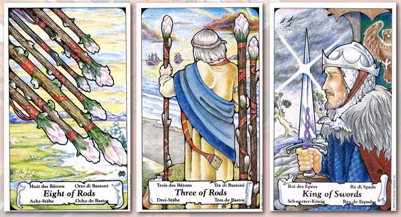 The Mom Loved You Best triplet tells a story that you can see in the cards, the 8 of Rods, 3 of Rods and King of Swords.