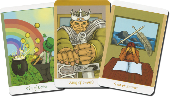 Simply Deep Tarot, the Ten of Coins, the King of Swords and the Two of Swords